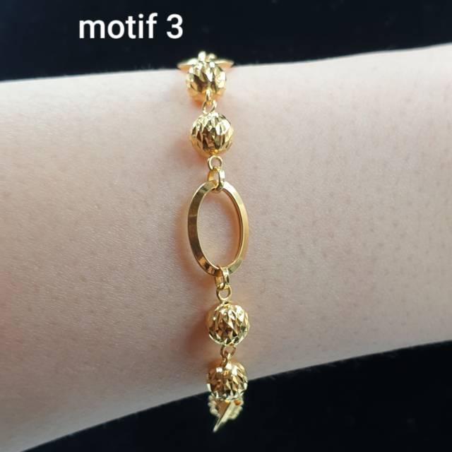 Gelang Emas Asli Kadar 875 Model Mocca Lonjong Bola Kristal Simple Mewah 301118g01875