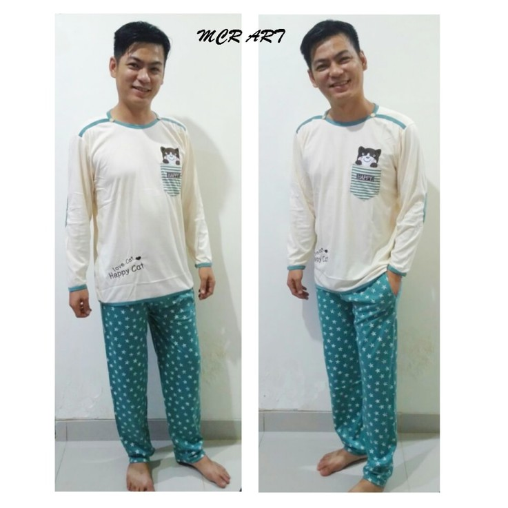 STLN375 Setelan Piyama Men Minions Love Navy Red Ezyhero Source STLN392 Setelan Piyama Bear Motif Brown