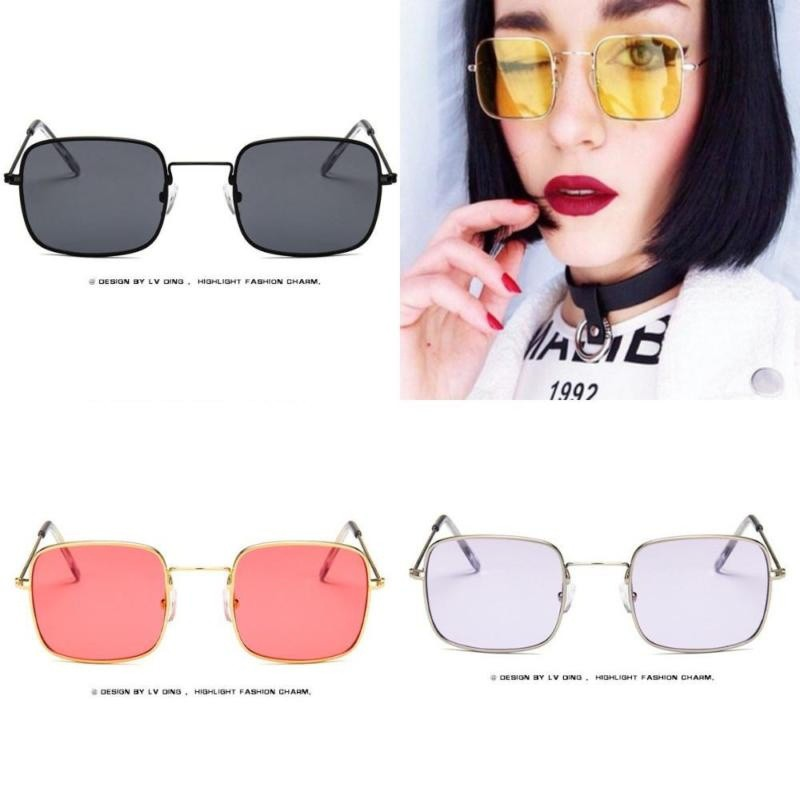 Gelas kacamata cermin datar❤ Metal Frame Colored Lens UV Protection  Sunglasses  a6fb410a49