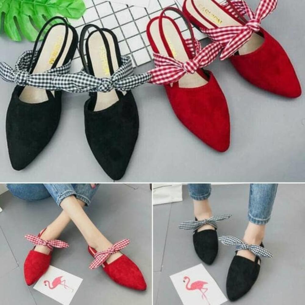 Dijual Sepatu Kantor Pantofel Karet Kerja Wanita Yumeida Full Black Berkualitas Shopee Indonesia