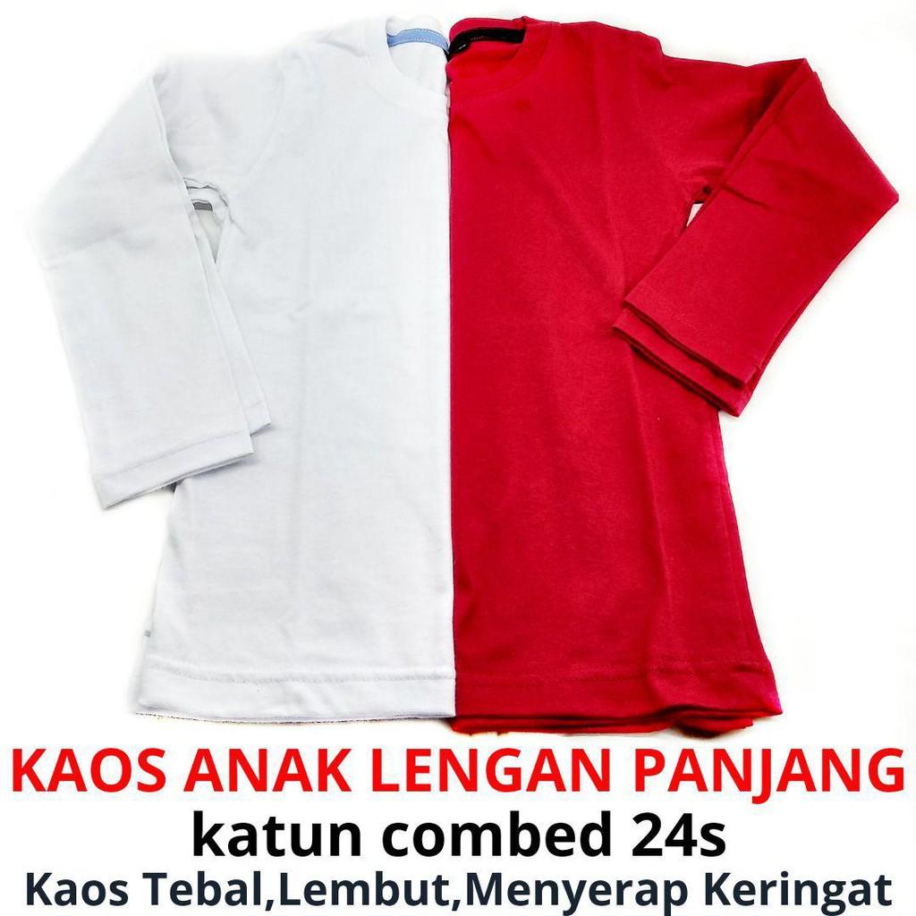 Grosir Kaos Polos Anak Baju Model Lengan Panjang Laki Perempuan Distro S M L Xl Katun Combed 24s Ukuran Shopee Indonesia