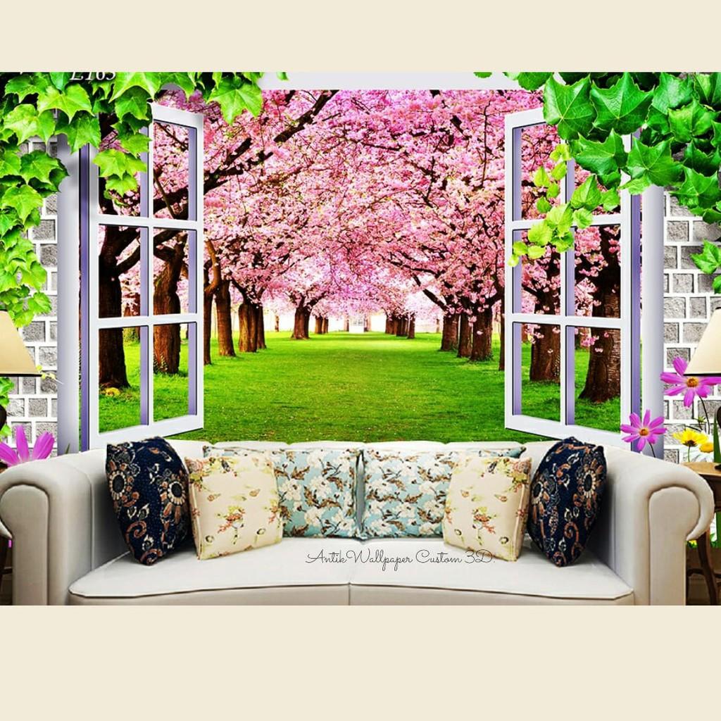 Wallpaper Dinding Custom 3d Wallpaper Dinding Motif Bunga Sakura Shopee Indonesia