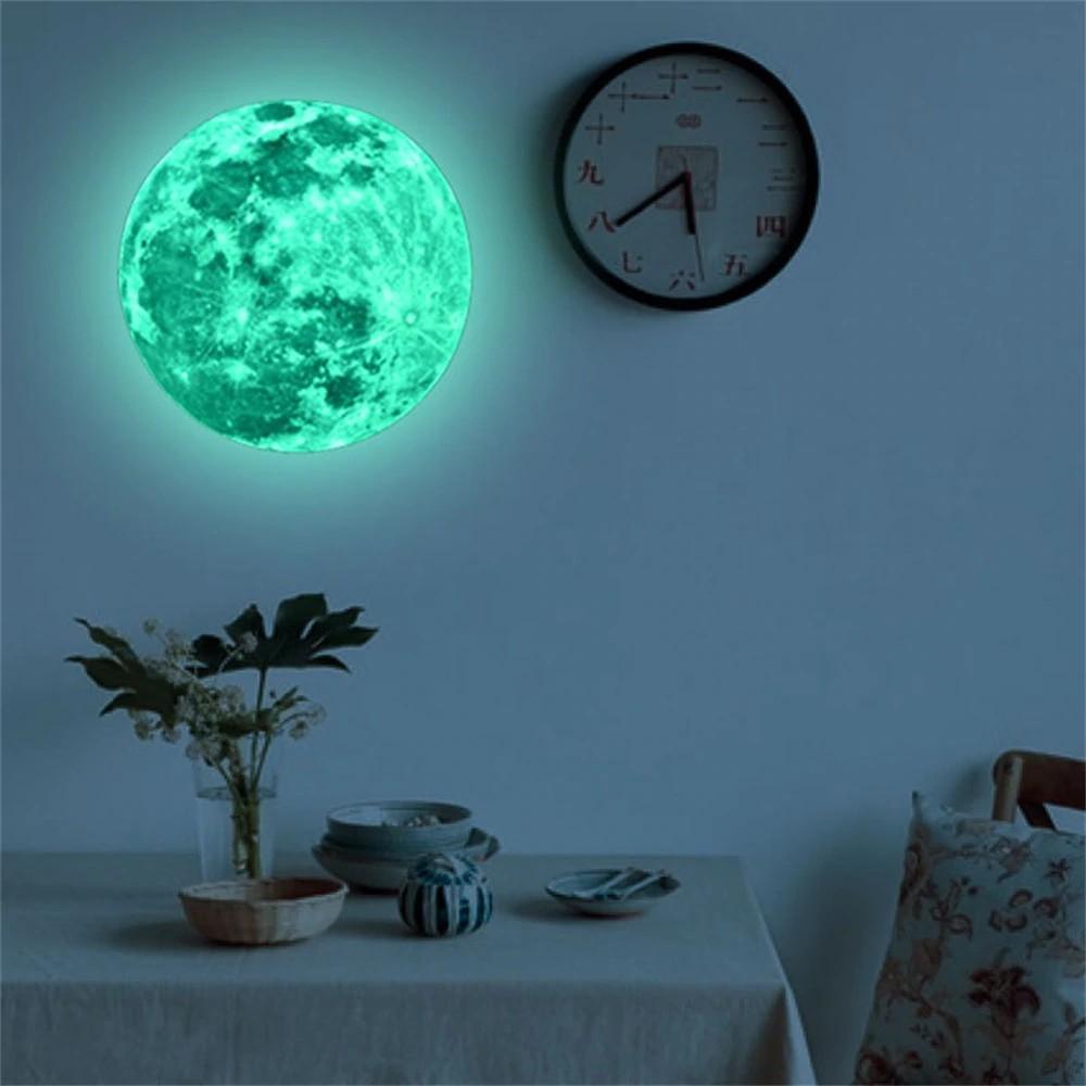 Luminous Moon Earth Cartoon DIY 3D Wall Stickers For Kid Room Bedroom Home Decor