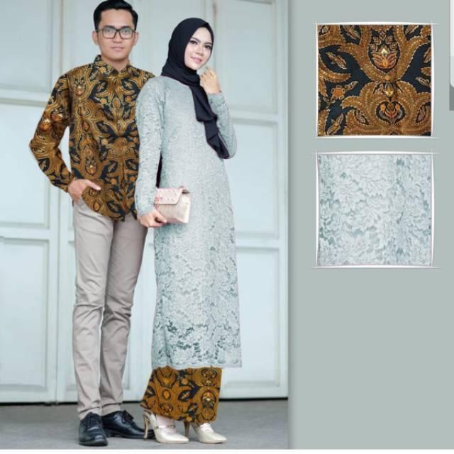 Couple Batik Brokat Corneli Batik Lengan Panjang Cp Kondangan Batik Muslim Couple Kebaya
