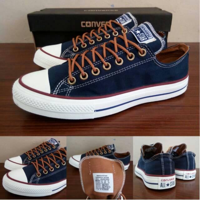 Sepatu Converse Chuck Taylor AllStar PEACHED Dress Blue Biru dongker Tan  Low - Original PREMIUM BNIB  9434b1d06f