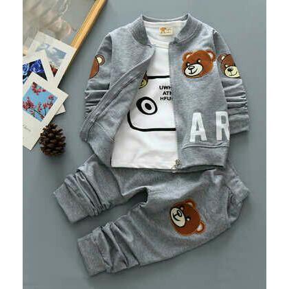 bf82f0d44 Setelan Baju Anak cowo lucu set jaket Teddy Bear anak setelan baju ...