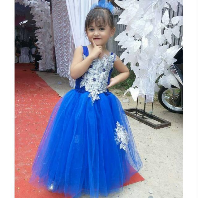 Dress Pesta Anak Viola Biru Elektrik