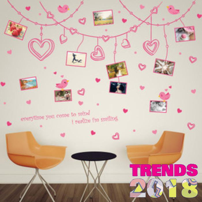 Gambar Sofa Ruang Tamu Hello Kitty  wall stiker 60x90 xl8248 pink love ribbon frame