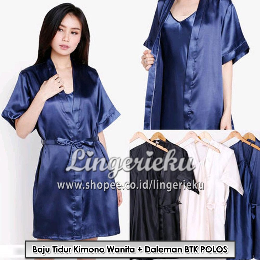 Baju Tidur Kimono Wanita Satin Polos Bride Silk Renda Murah  be83607585