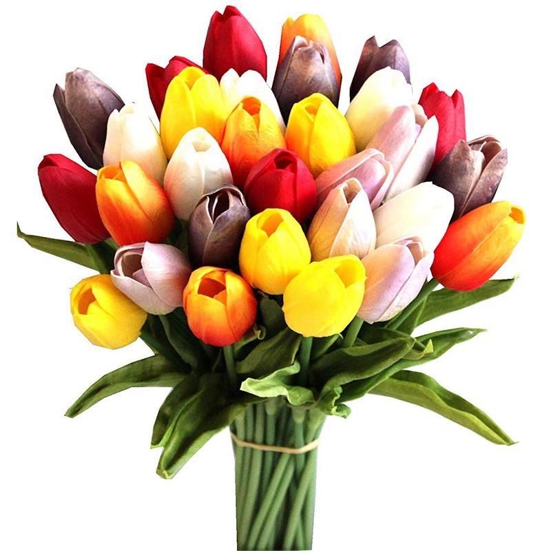 30pcs Bunga Tulip Buatan Dengan Bahan Sutra Warna Warni Ukuran 14 Inci Shopee Indonesia