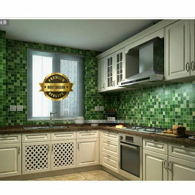 Wallpaper Dinding Dapur Kamar Mandi Hijau Kotak Minimalis Elegan Murah
