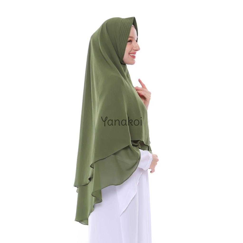 Yanakoi Hijab Jilbab Khimar Syafa Soft Pet Antem Warna Hijau Army Shopee Indonesia