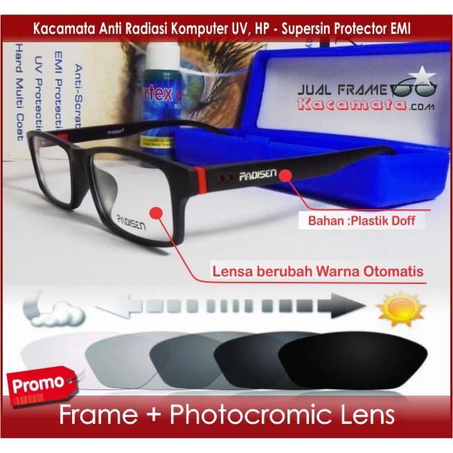 Frame Kacamata Sporty + Lensa Photocromic Mika Minus Plus Anti Radiasi  Komputer Pria Wanita Cewek  6ce2dcf924