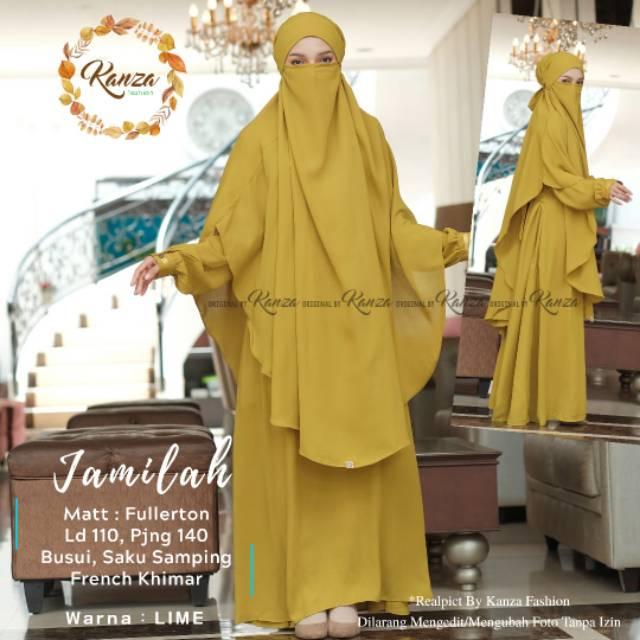 """Jamilah Syari French Khimar by Kanza """"Setelan Gamis Muslimah Free Khimar"""""""