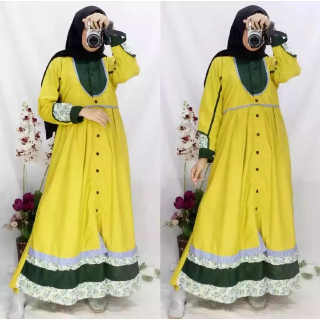 Baju Gamis Tunika Busana Muslimah Wanita Bahan Katun Toyobo Terbaru  Terlaris Termurah Warna Kuning
