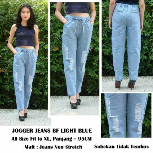 Celana Wanita Jogger Boyfriend BF Sobek Ripped Jeans Light Blue Murah | Shopee Indonesia