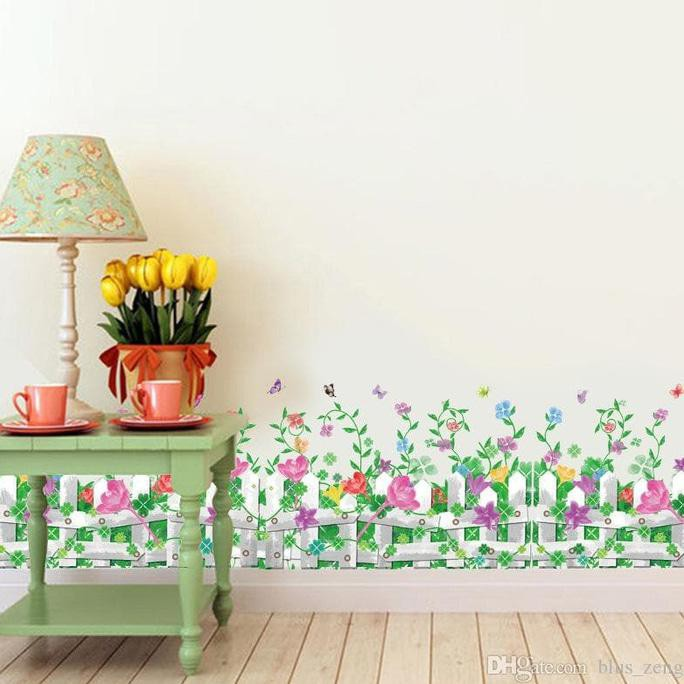 wall sticker/wall stiker transparan 50x70 AM7110 WHITE FANCE N FLOWER | Shopee Indonesia
