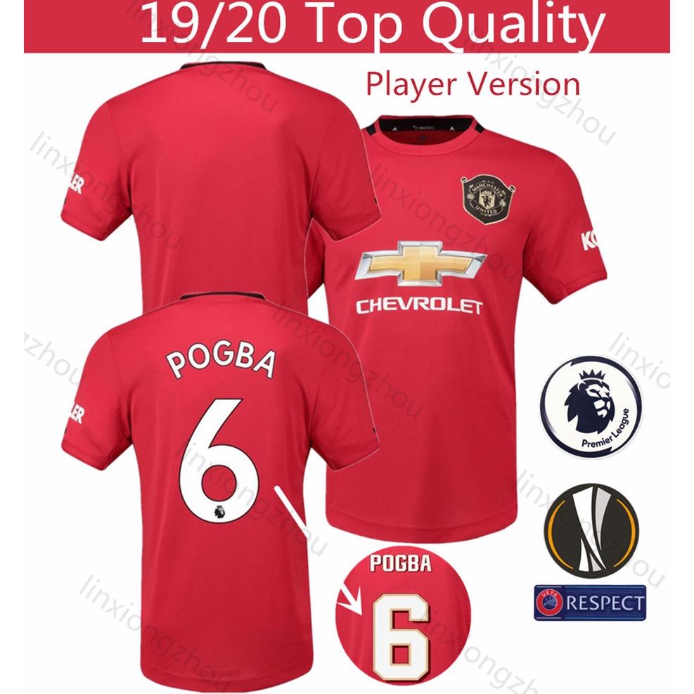 Jersey Manchester United Home 19 20 Versi Pemain Jersey Bola Size S 3XL Kualitas Terbaik Baju Bola