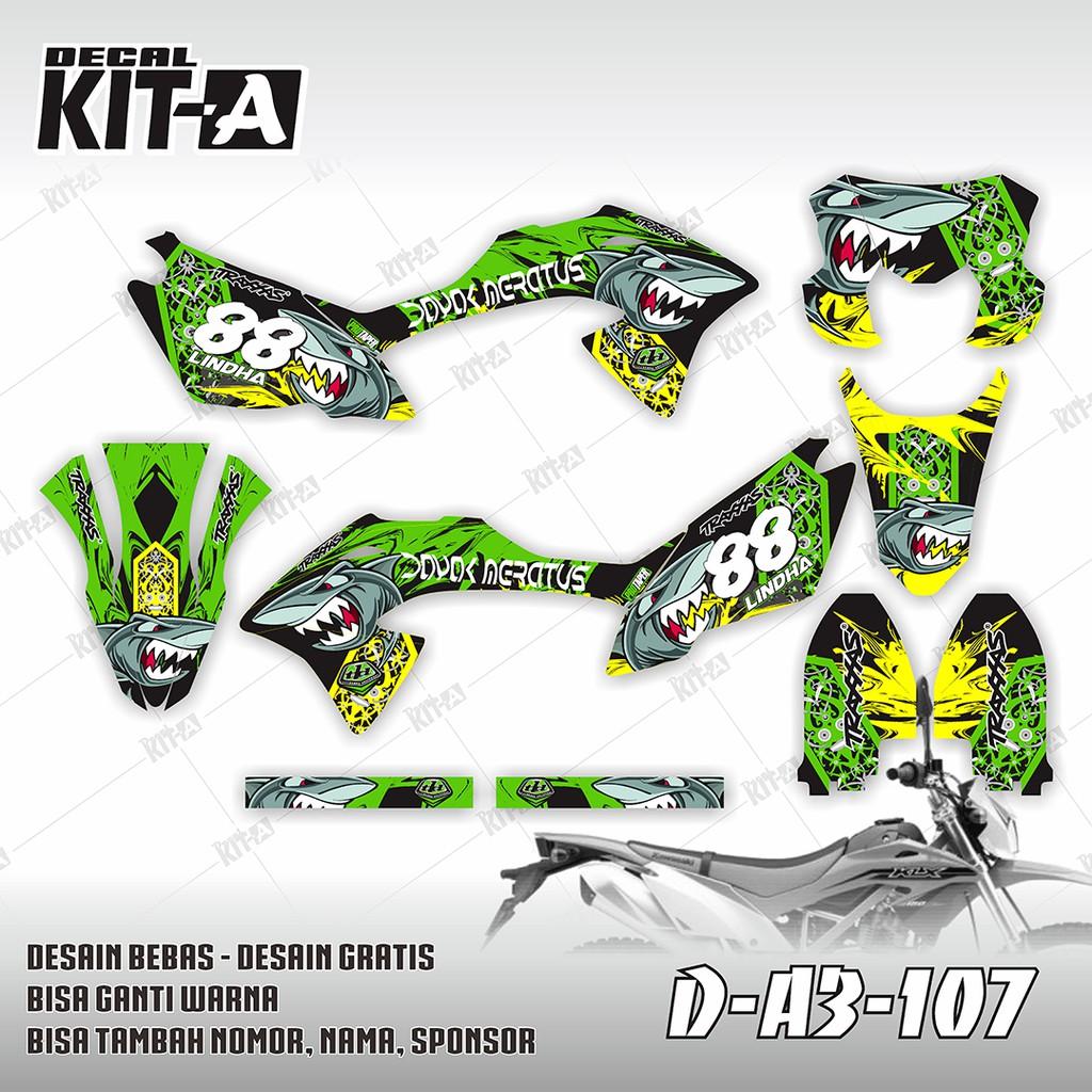 Decal stiker motor klx bf 150 shark hiu dayak dekal sticker striping klx 150 d a3 107 shopee indonesia
