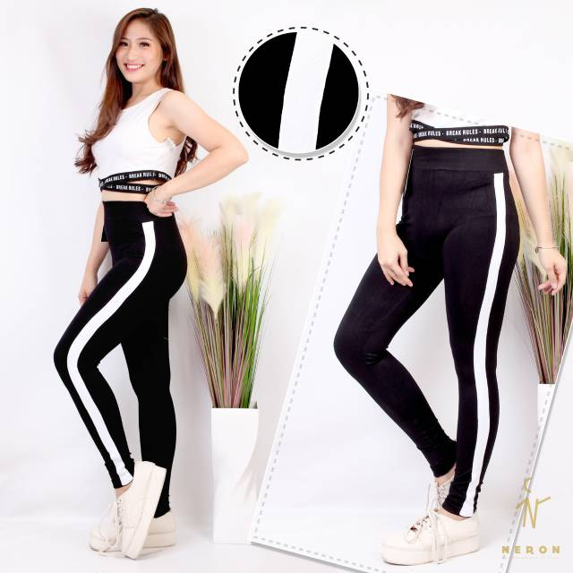 Celana Legging List Putih Panjang Import Shopee Indonesia
