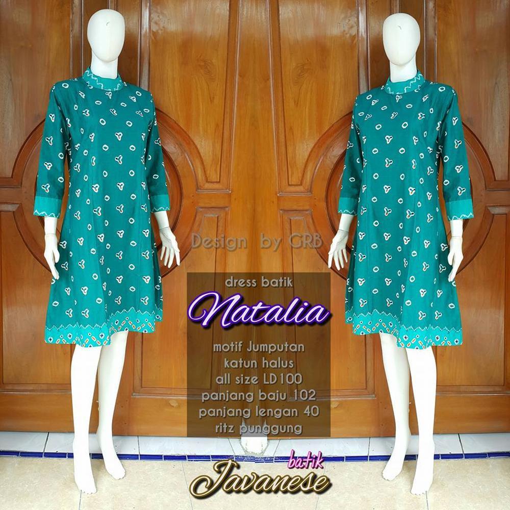 Tunik Blouse Blus Batik Dress Bahan Katun Motif Jumputan Warna Hijau