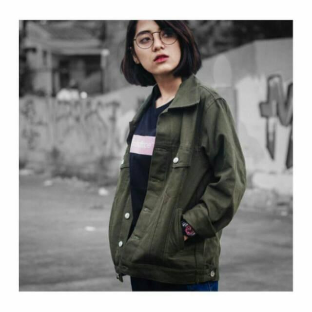 Jaket jeans hijau army oversize cewek / jaket jeans oversize wanita   Shopee Indonesia