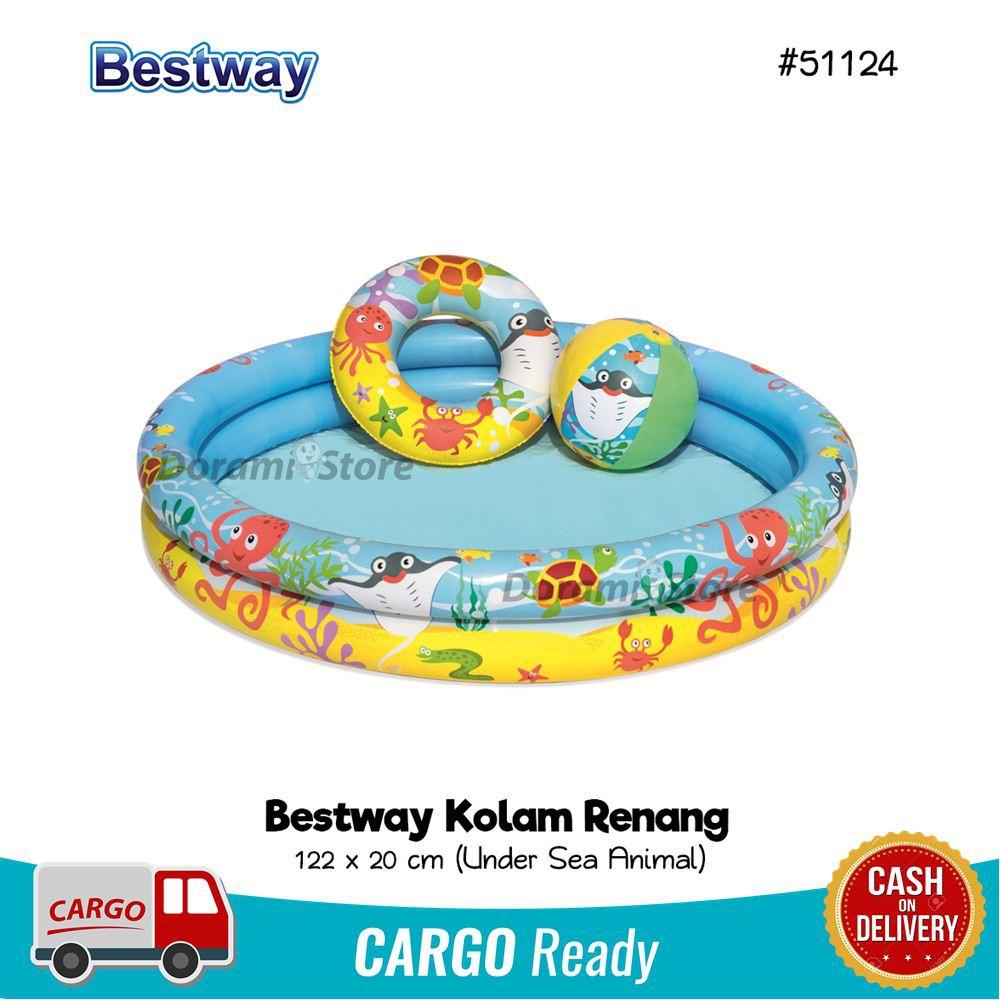 Bestway 51124 Kolam Tiup Renang Set Ukuran 122x20 Cm Shopee Indonesia