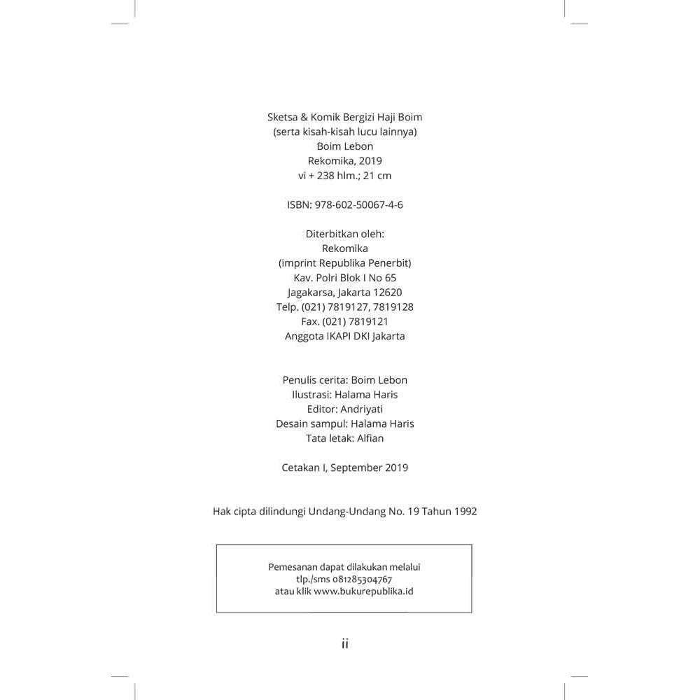 Buku Sketsa Dan Komik Bergizi Haji Boim Boim Lebon
