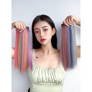 Wig Rambut Lurus Panjang Keriting Rambut Klip Wig Klip Warna Gradien thumbnail