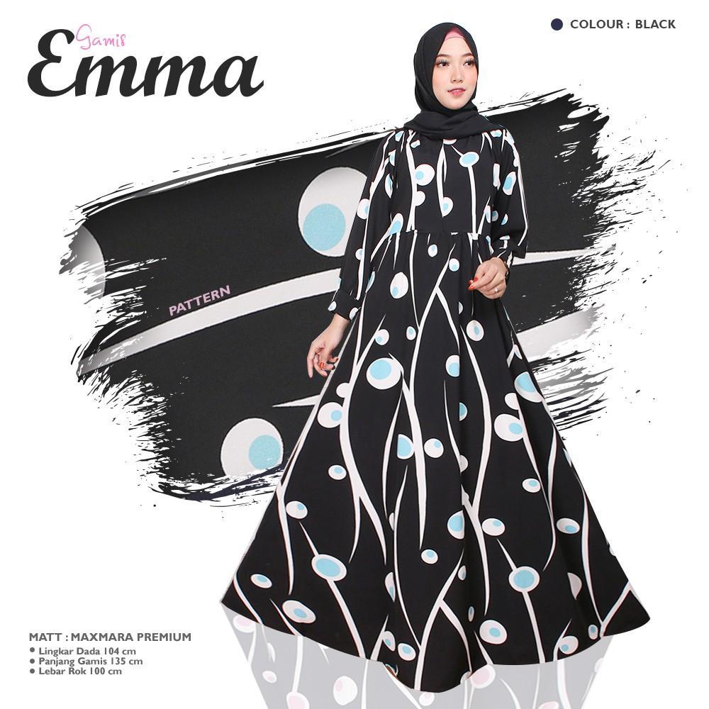 EMMA SYARI BAJU GAMIS MUSLIM WANITA SYARI DRESS MAXI ONLY WARNA HITAM NAVY  BROWN HIJAU