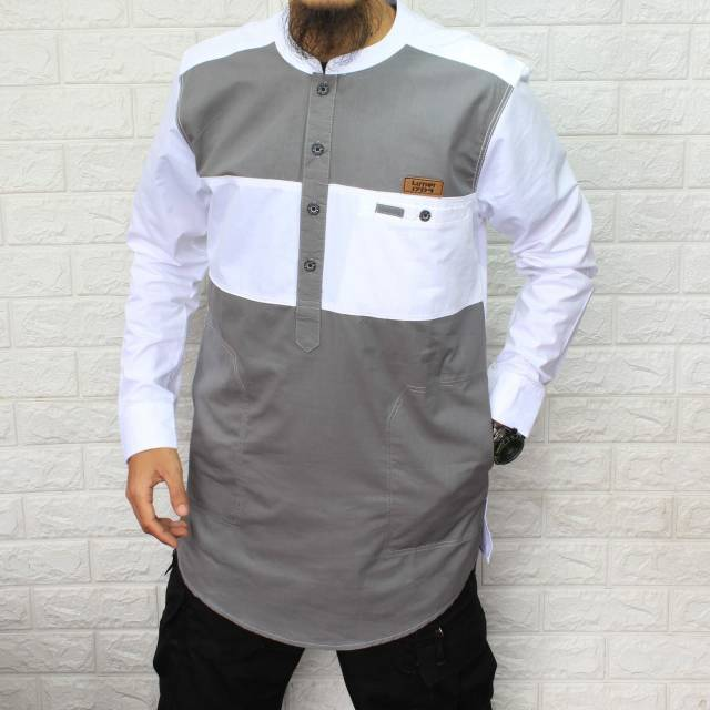 Baru Baju Koko Pria Dewasa Model Kombinasi Kurta Pakistan Muslim Sunnah Lengan Panjang Pocket Murah Shopee Indonesia