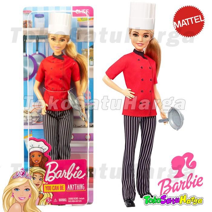 Mainan Anak Perempuan Boneka Barbie Profesi Chef Koki Masak Ori Mattel Shopee Indonesia