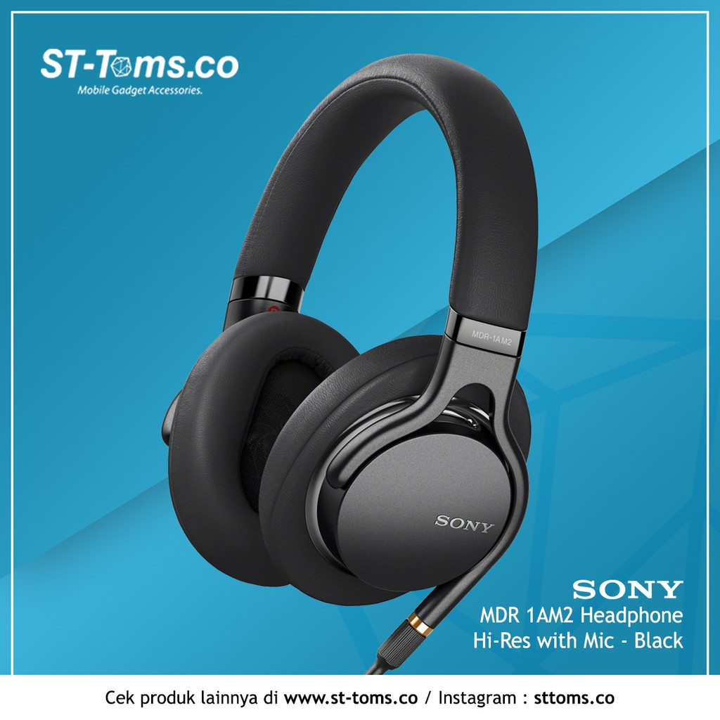 Sony MDR 1AM2 / MDR1AM2 / 1AM2 Headphone Hi-Res with Mic - Hitam