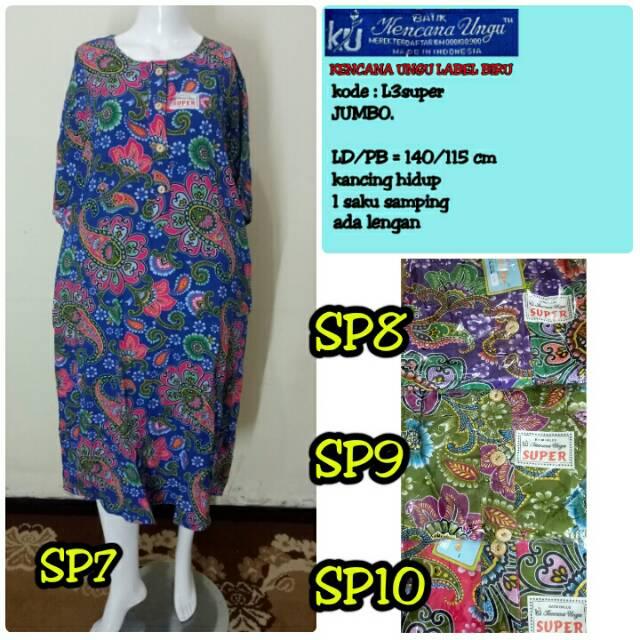 Daster batik kencana ungu model LD kalong label biru   daster jumbo ... f2bb077823