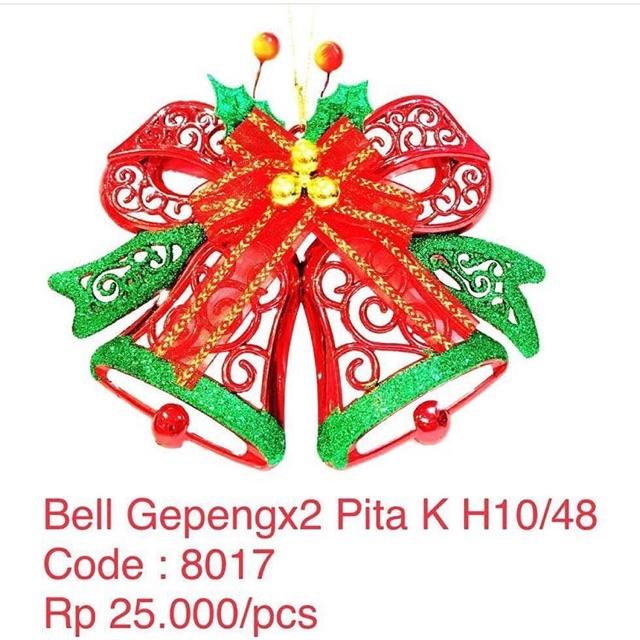 Hiasan Bell Gepeng Pita Hiasan Natal Dekorasi Dinding