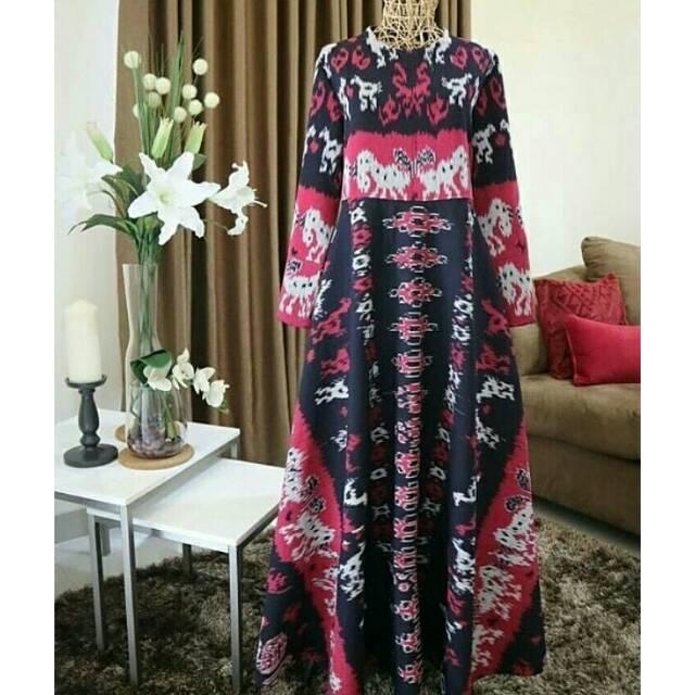 Model Gamis Tenun Jepara Gambar Hijab