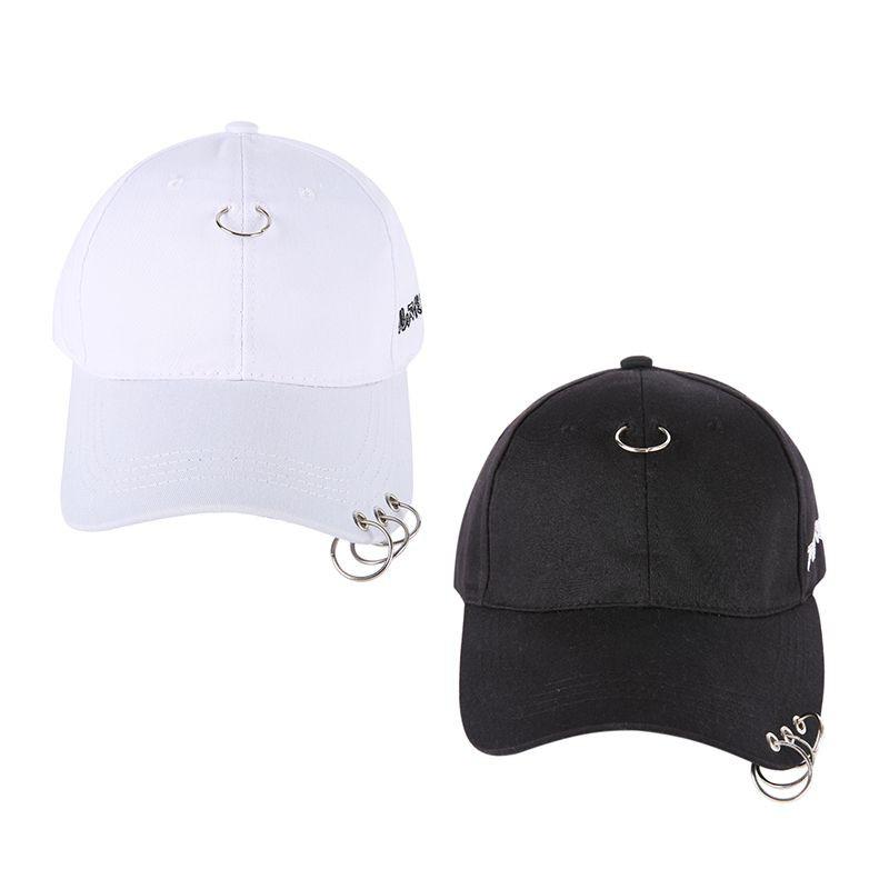 Topi Baseball Pria Wanita Unisex Hias Cincin Warna Polos Hitam Putih  Fashion untuk Olahraga Outdoor  7590eb0f40