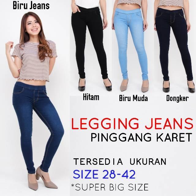 Size 28 42 Celana Legging Jeans Wanita Celana Pinggang Karet Jegging Jeans Jumbo Jsk Jeans Cewek Shopee Indonesia