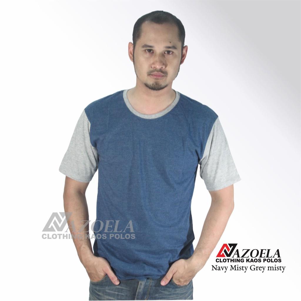 Baju Kaos Polos Original Blue Solid Cotton Combed 30s Reaktif Misty Unisex Pria Shopee Indonesia
