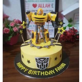 Kue Ultah Transformers Bumblebee Bee Cake Transformers Kue Ultah Anak Laki Laki Shopee Indonesia
