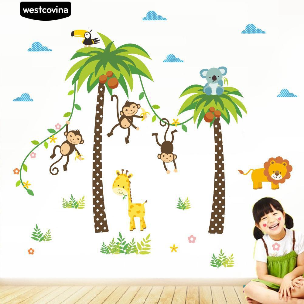 Stiker Dinding Dengan Bahan Mudah Dilepas Gambar Kartun Pohon Tropis Untuk Dekorasi Kamar Anak