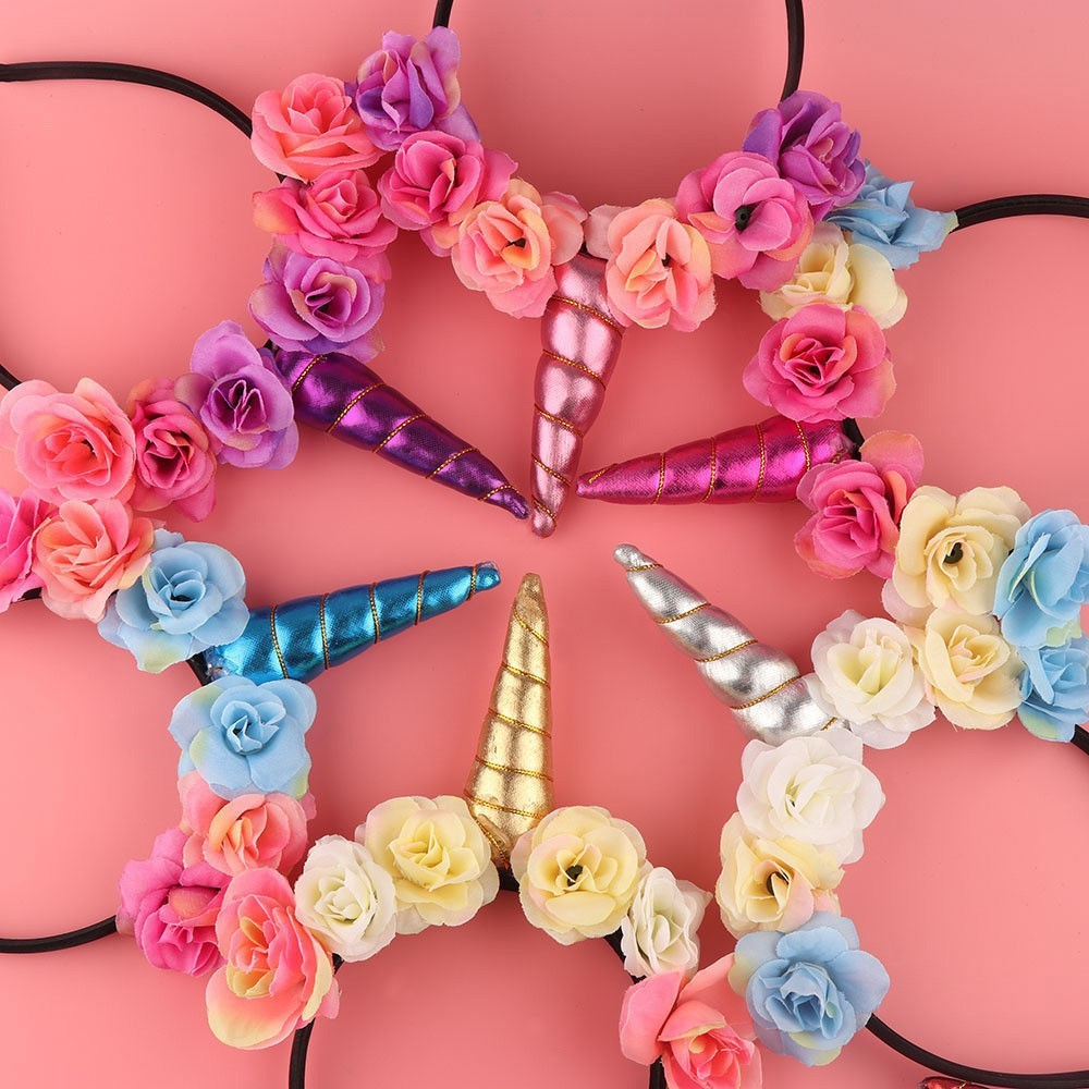 Unicorn Horn Hair Hoop With Flower Ears Party Cosplay Headband for Baby Girls