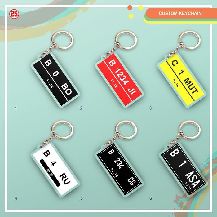 custom gantungan kunci nama tema plat nomor keychain key ring
