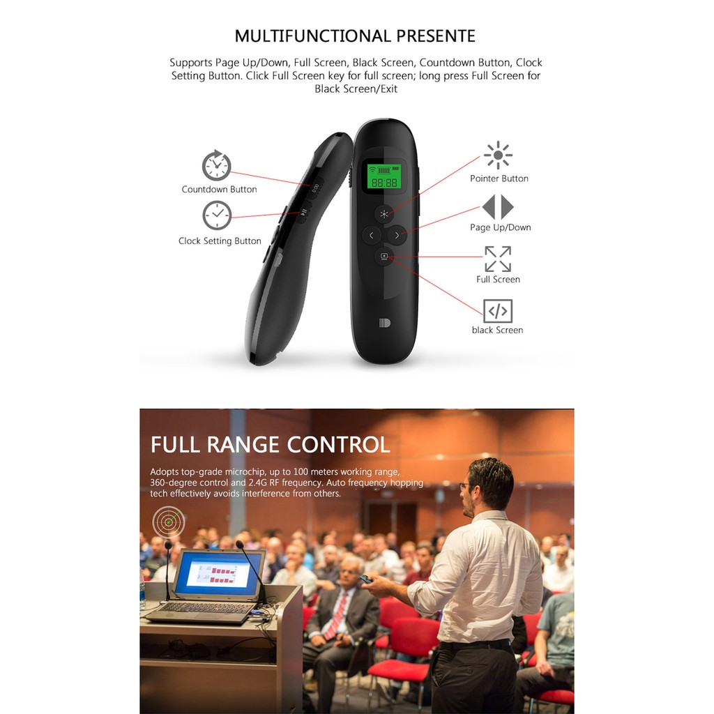 Doosl Pointer Wireless Rechargeable Dengan Laser Tampilan Presenter Pp 1000 Hitam Lcd Untuk Presentasi Ppt Shopee Indonesia