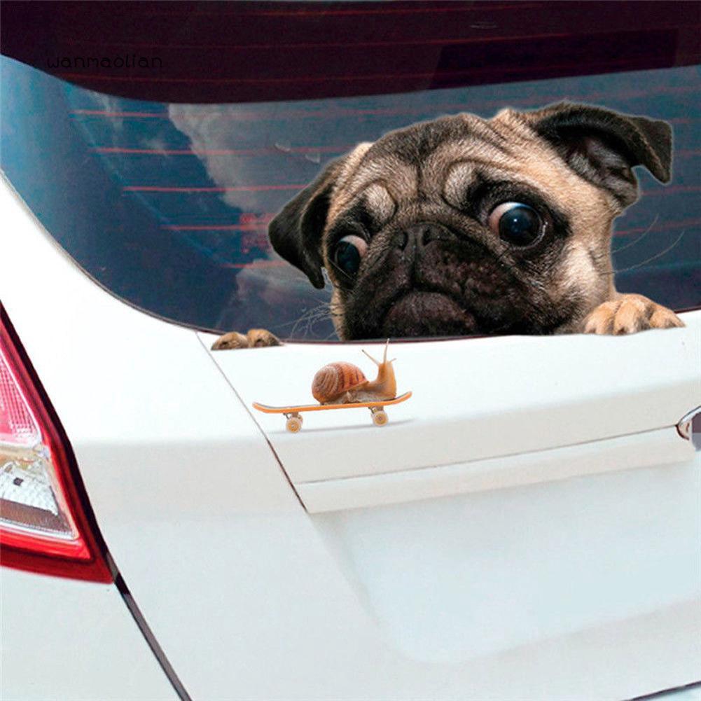 Wm Funny Cute Pet Pug Dog Snail 3d Car Window Decals Home Wall Sticker Decor Shopee Indonesia