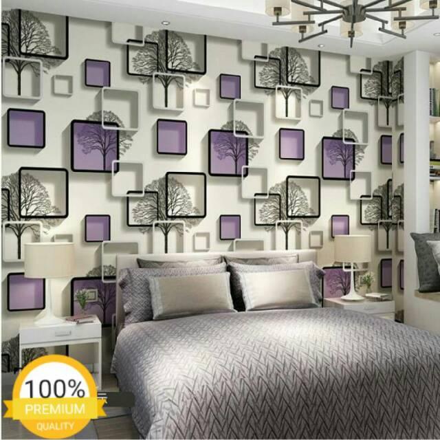Wallpaper Dinding Murah Ruang Tamu Kamar Tidur Kotak Pohon Ungu Putih Terbagus Terlaris Elegan I Dah Shopee Indonesia