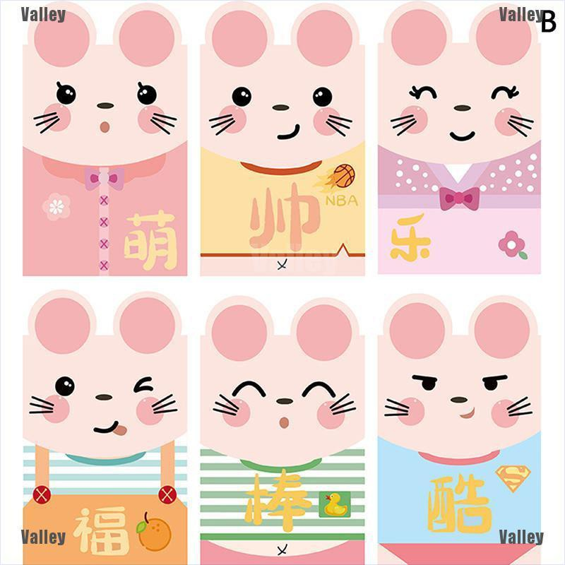 6Pcs//Pack 2020 Chinese Cartoon Rat Red Envelope Children New Year Red Pocket HF