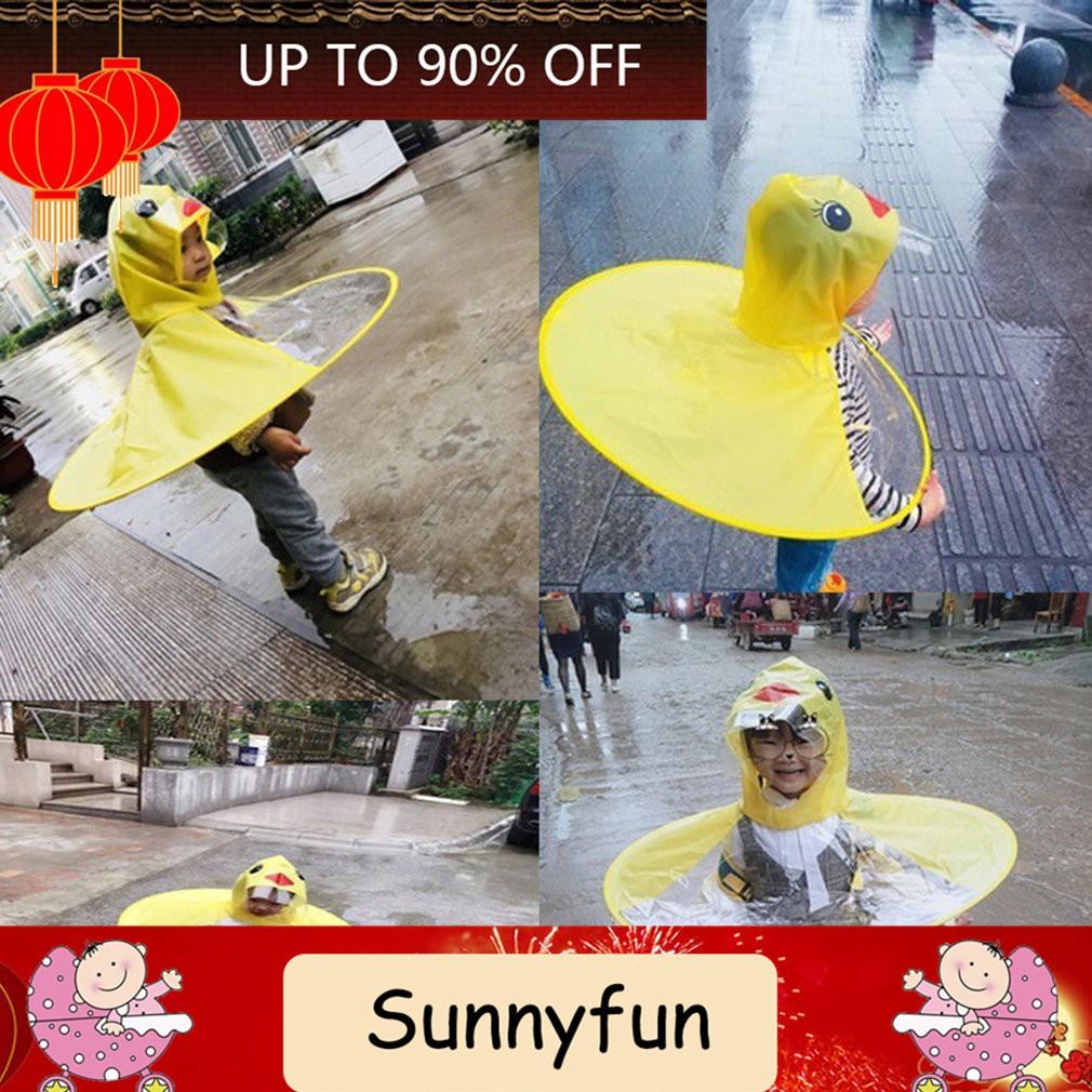 Topi Mantel Jas Hujan Anak UFO Model Bebek Children Umbrella Raincoat Jas Hujan Bentuk Payung Ra