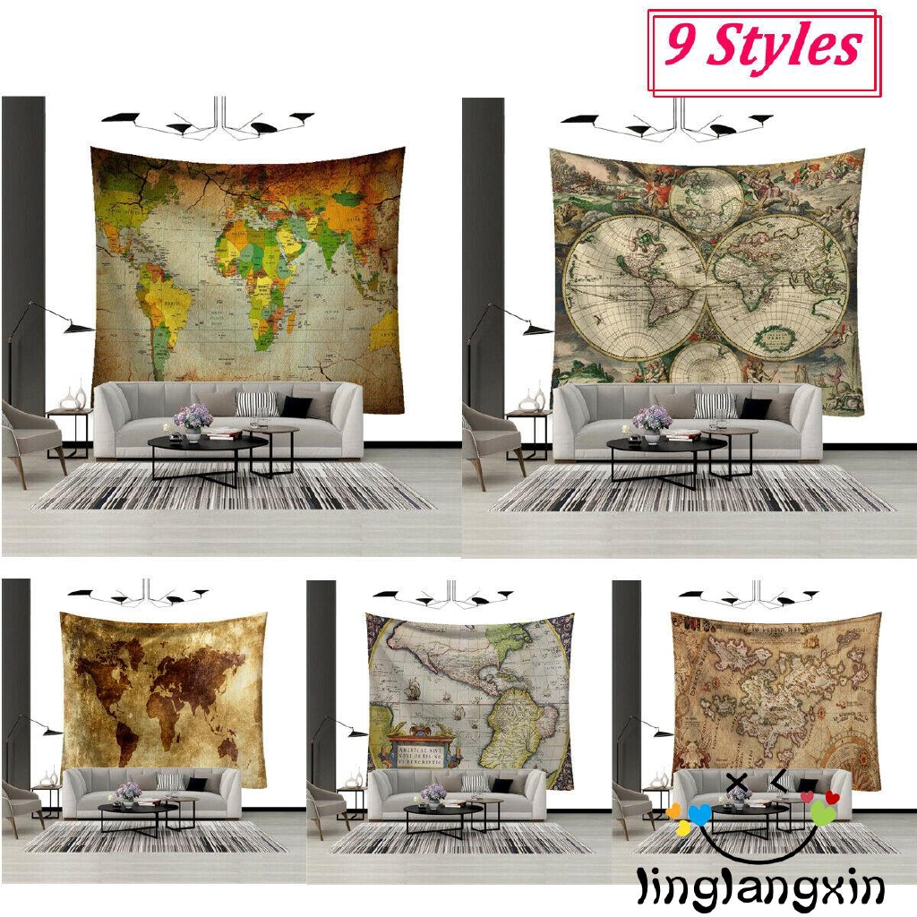 S Vintage Map Mural Tapestry Wall Decoration Wall Mounted World Map Blanket Wall Art Living Room Shopee Indonesia