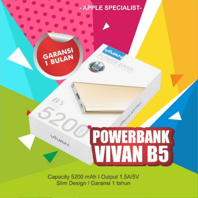 POWERBANK VIVAN B5 5200MAH FOR IPHONE 5 5S 6 6S 6PLUS 7 7PLUS ORIGINAL 100% | Shopee Indonesia